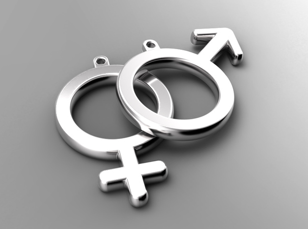 Female - Venus - Gender Symbol in Natural Silver