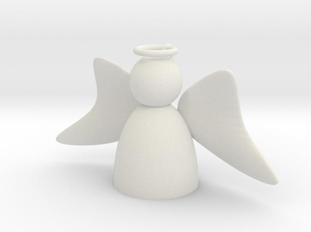 Angel with Wings Forward in White Natural Versatile Plastic