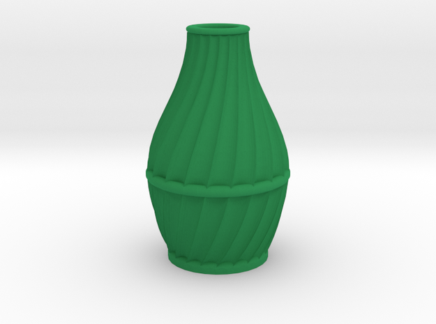 Scalloped Vase Neck Spiral Small in Green Strong & Flexible Polished