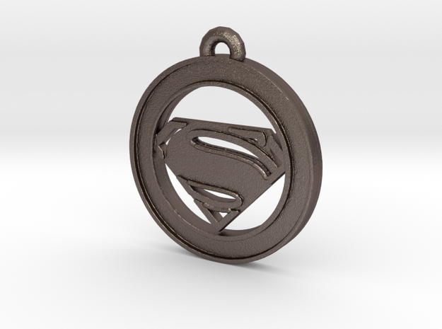 Clasic Superman Circle-pendant in Polished Bronzed Silver Steel
