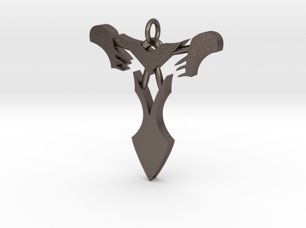 "Pendentif Bionicle - ""T"" (Takanuva) in Polished Bronzed Silver Steel"