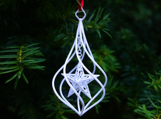 Christmas Tree Ornament (Bauble) - Spinning Star in White Strong & Flexible Polished