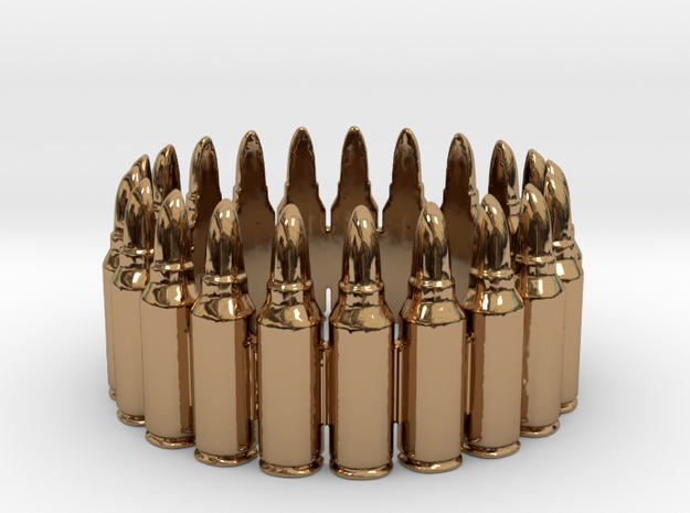 7.62x39 Bullet Round Ring #1, Ring Size 10 in Polished Brass