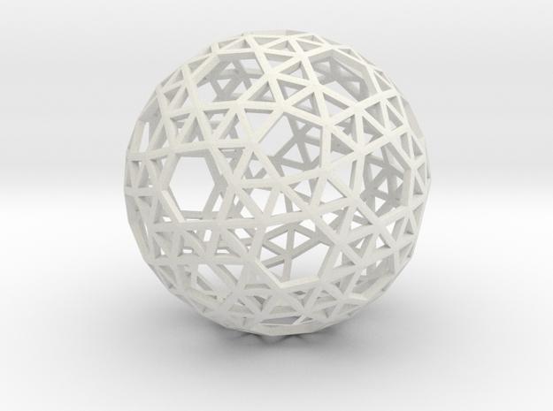 Triangulated Sphere in White Natural Versatile Plastic