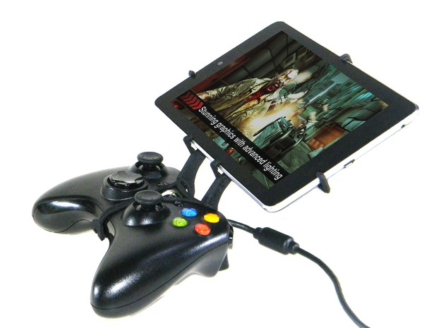Xbox 360 controller & LG Optimus Pad LTE 3d printed Side View - A Nexus 7 and a black Xbox 360 controller