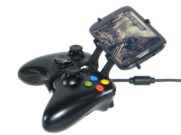 Xbox 360 controller & HTC Titan II 3d printed Side View - A Samsung Galaxy S3 and a black Xbox 360 controller