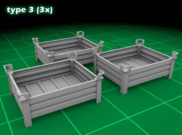 Stackable Container Type3 (3x) in Smooth Fine Detail Plastic