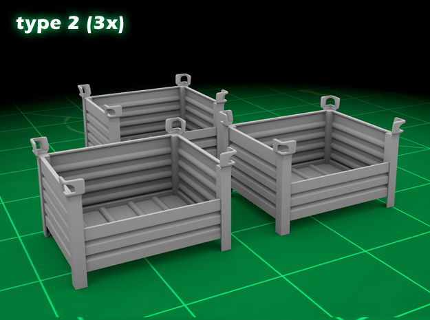 Stackable Container Type2 (3x) in Smooth Fine Detail Plastic