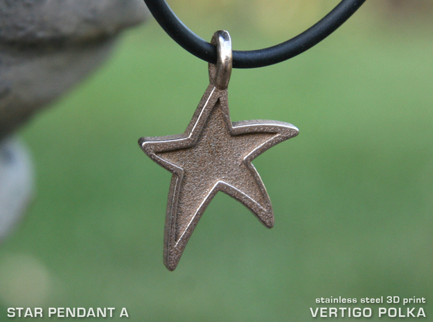 Star Pendant A in Polished Bronzed Silver Steel
