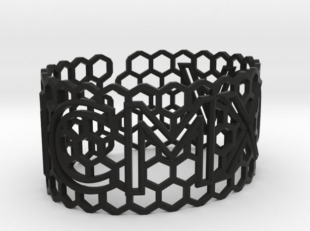 Roman birthday honeycomb bangle (add $80) in Black Strong & Flexible