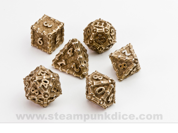 Dragon Dice Set noD00 in Polished Bronzed Silver Steel