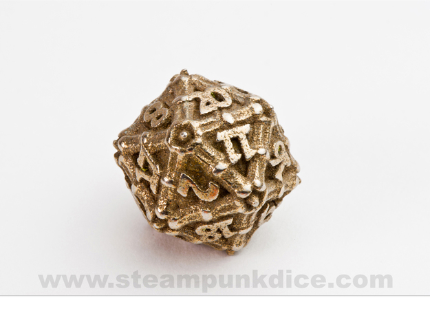 Dragon d20 in Polished Bronzed Silver Steel