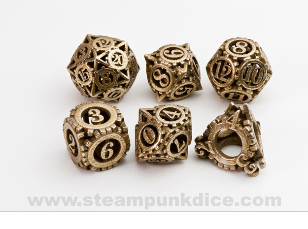 Steampunk Gear Dice Set noD00 in Polished Bronzed Silver Steel