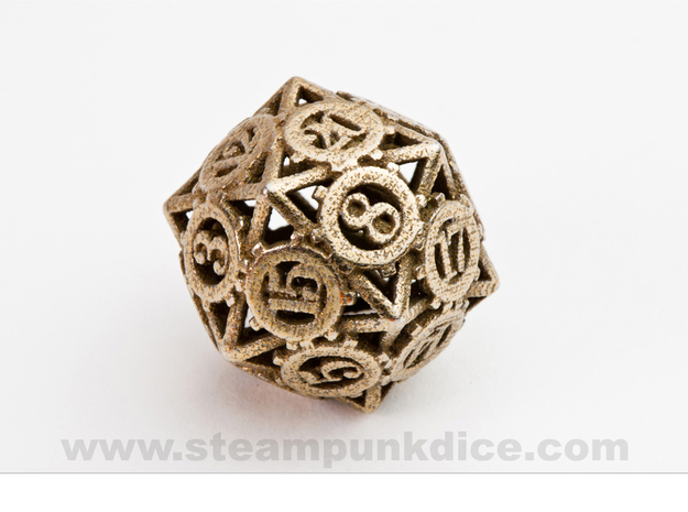Steampunk Gear d20 in Polished Bronzed Silver Steel