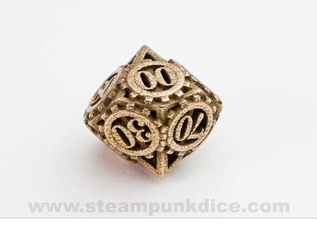 Steampunk Gear d00 in Polished Bronzed Silver Steel