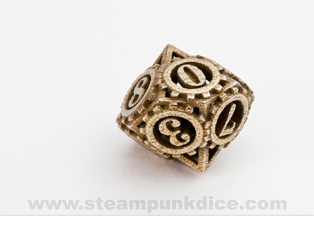 Steampunk Gear d10 3d printed Stainless Steel
