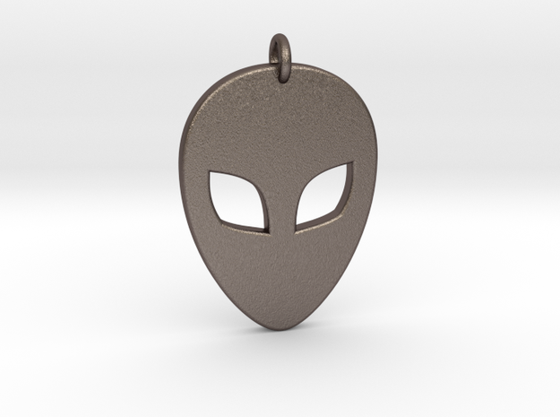 Alien Head Pendant, 3mm Thick. in Polished Bronzed Silver Steel