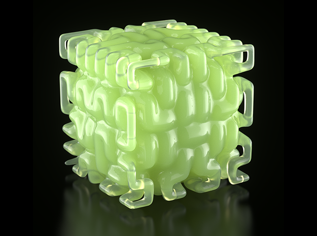 Smooth Hilbert Cube 3d printed Image rendered in Maxwell Render.