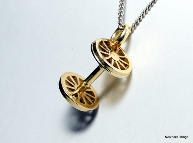 Pendant Train Axle in Polished Brass
