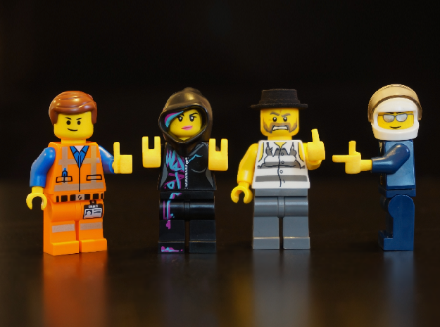 Custom lego compatible Hands set R in Yellow Strong & Flexible Polished
