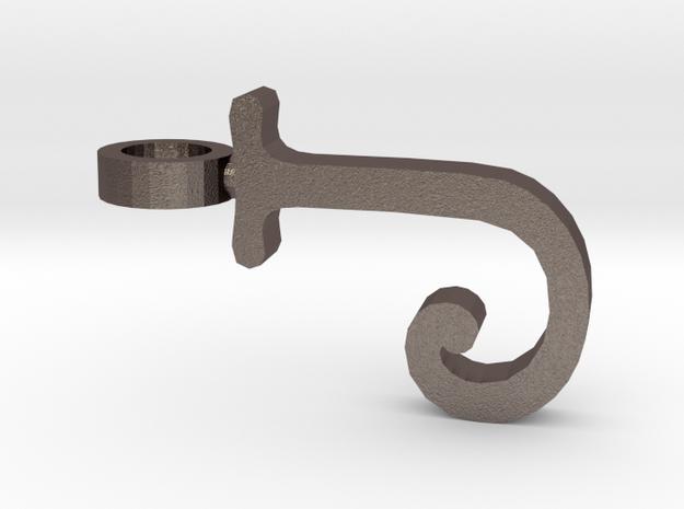 J Letter Pendant in Polished Bronzed Silver Steel