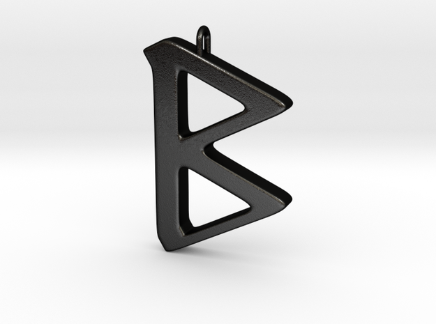 Rune Pendant - Beorc in Matte Black Steel