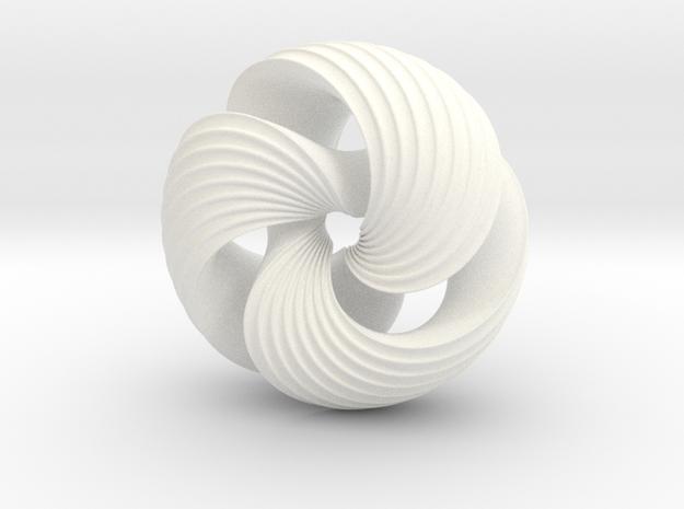 Mobius Knot in White Processed Versatile Plastic