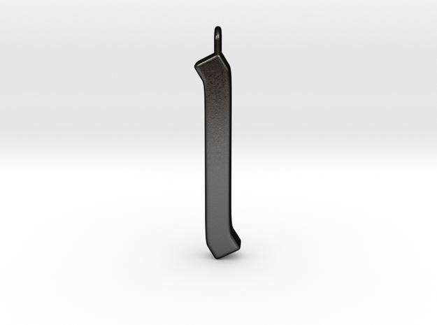 Rune Pendant - Īs in Matte Black Steel