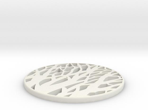 TREE SILHOUETTE COASTER in White Natural Versatile Plastic