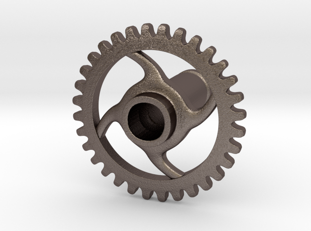 2 Gauge Gear in Polished Bronzed Silver Steel
