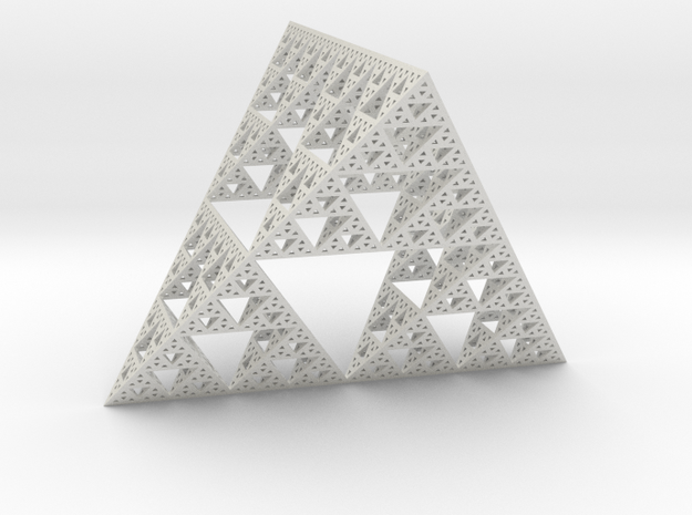 Geometric Sierpinski Tetrahedron level 5 in White Natural Versatile Plastic