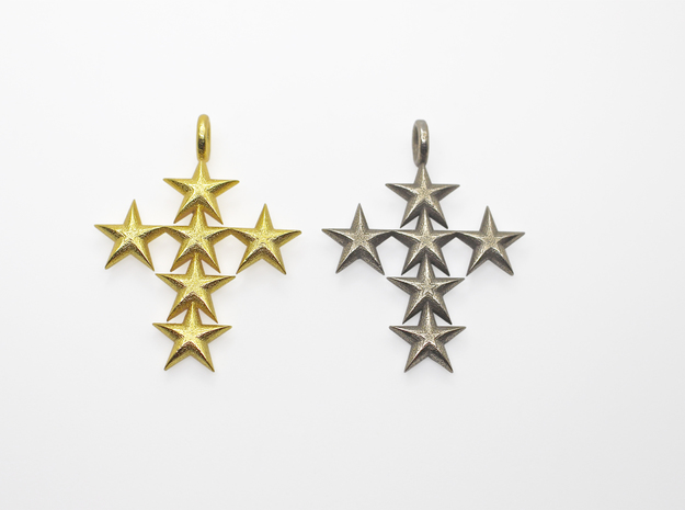 StarCross Big Pendant in Polished Gold Steel