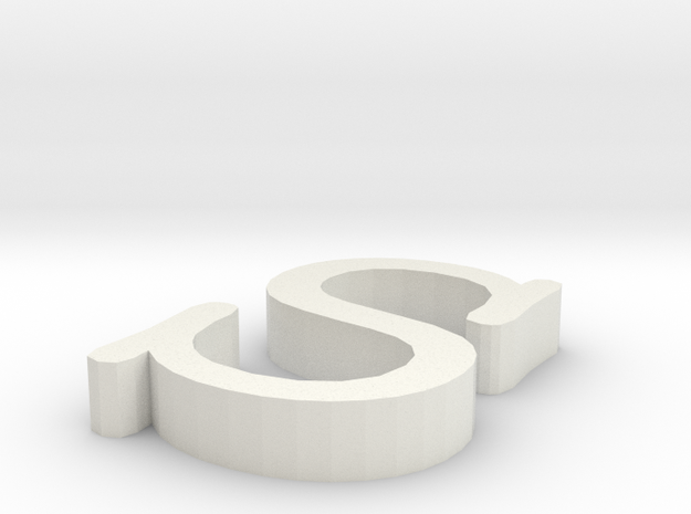S Letter in White Natural Versatile Plastic