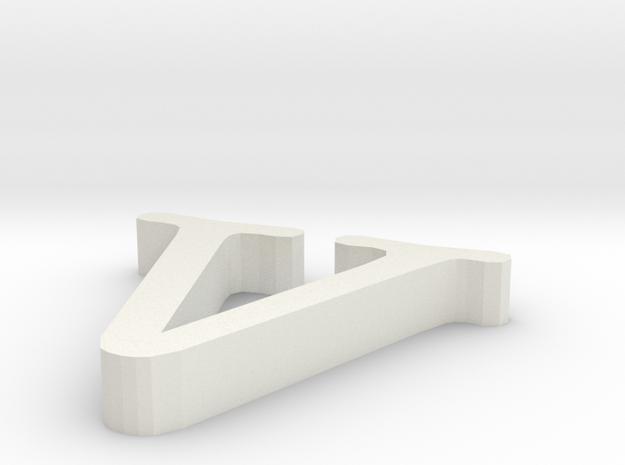 V letter in White Natural Versatile Plastic
