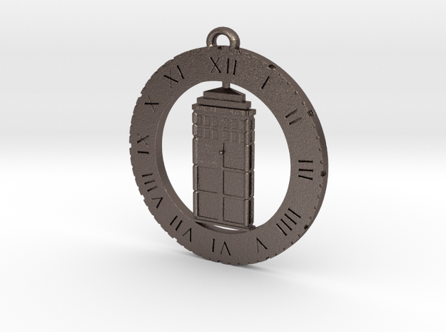 TARDIS (Flat) - Pendant in Polished Bronzed Silver Steel