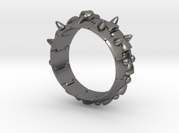 Armor Ring 01 (with stone hole) US13.5 in Polished Nickel Steel