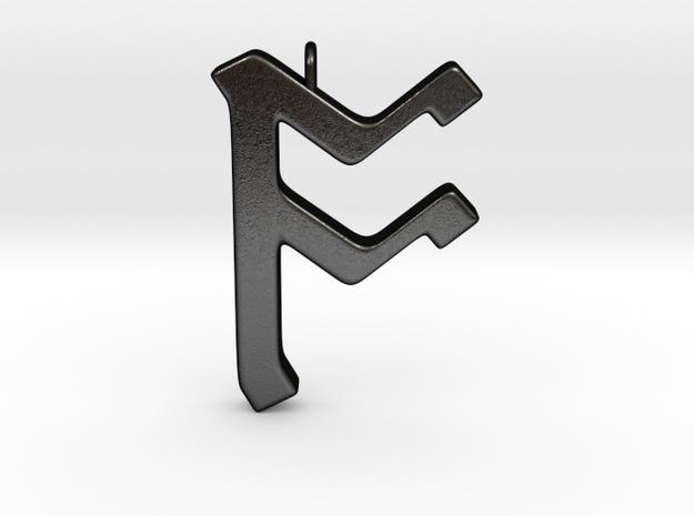 Rune Pendant - Ōs in Matte Black Steel