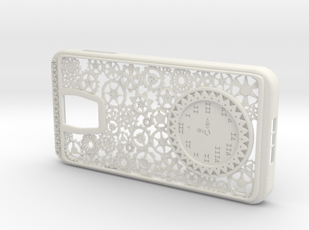 Steampunk Clock Galaxy S5 Case in White Strong & Flexible