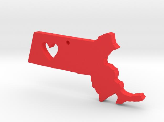 I love Massachusetts Necklace in Red Processed Versatile Plastic
