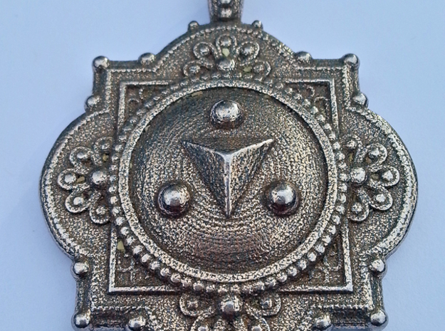Shadow Medallion Pendant in Polished Bronzed Silver Steel