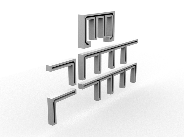 PBR DH Handrail Templates(HO/1:87 Scale) in White Natural Versatile Plastic