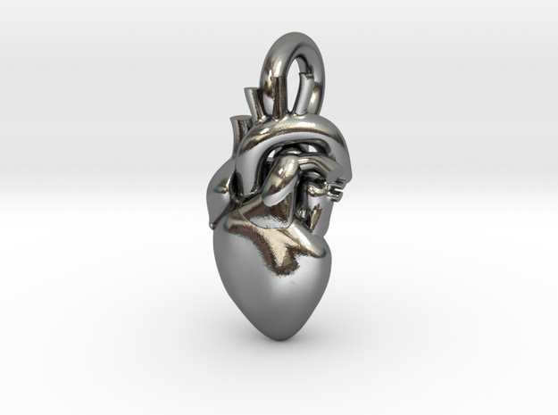Beautiful Human Heart Pendant in Polished Silver