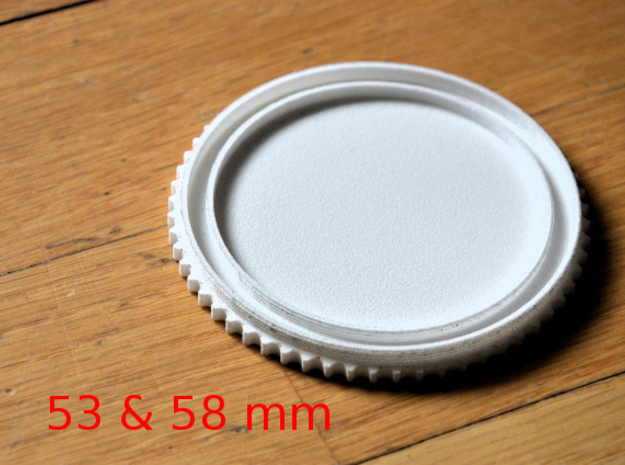 Double threaded lens cap: 58 and 53 mm in White Strong & Flexible