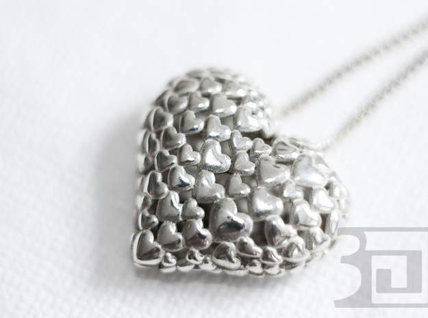 Heart Of Hearts 3d printed Silver Polished