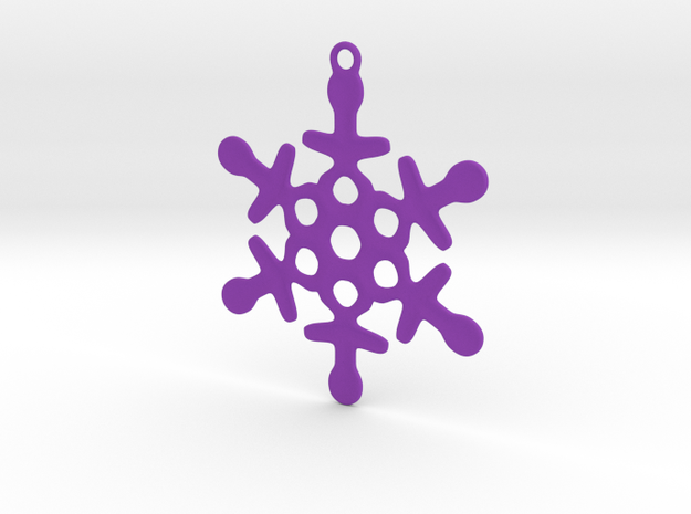 Ornament, Snowflake 003 in Purple Strong & Flexible Polished
