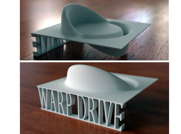 Alcubierre Warp Drive with 3D text in White Natural Versatile Plastic