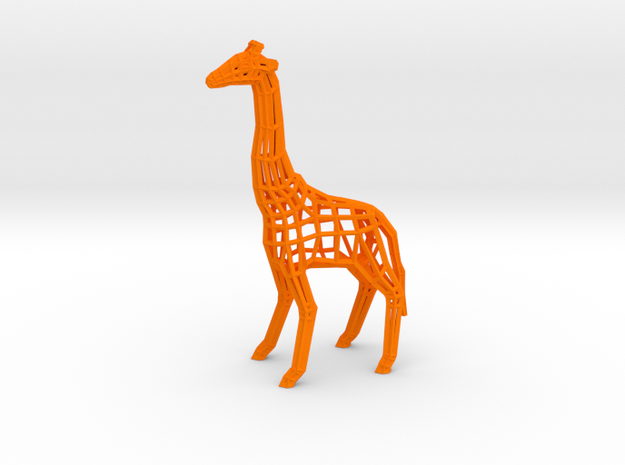 Low Poly Wireframe Giraffe [10cm Tall] in Orange Strong & Flexible Polished