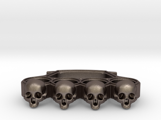 Knuckles skull edition in Polished Bronzed Silver Steel