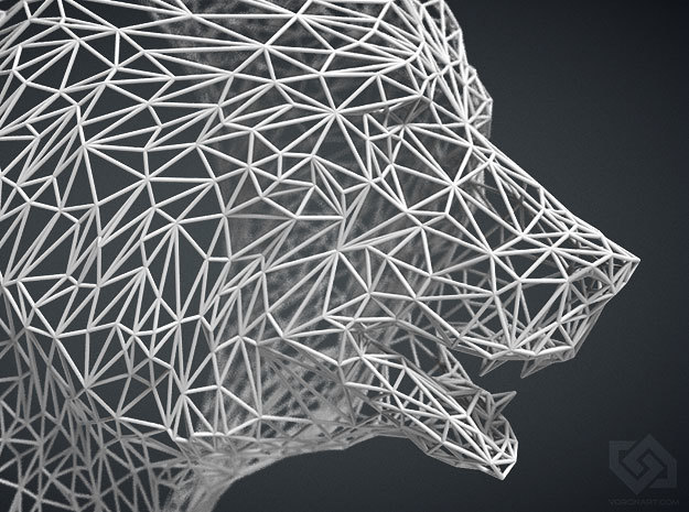 Wire Bear head in White Strong & Flexible: Medium