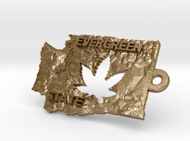 Washington State marijuana key fob in Polished Gold Steel